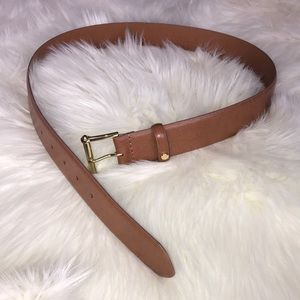 Ralph Lauren light brown leather belt gold buckle